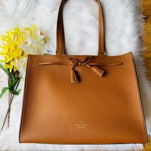 WARM GINGER KATE SPADE HAYES LARGE TOTE LEATHER